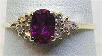 14KT YELLOW GOLD RUBY AND DIAMOND RING 2.00 GRS
