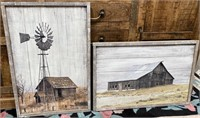 43 - NEW WMC PAIR OF WOOD BARN WALL ART