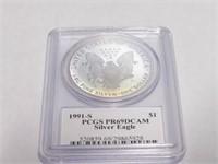 1991 American Eagle, Silver 1 Dollar Proof