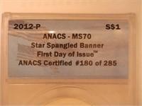 2012 Comm. $1 Silver 1 Dollar Star-Spangled Banner