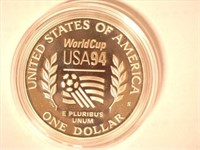 1994 Comm. $1, Silver 1 Dollar World Cup, Proof