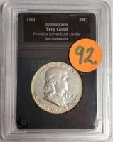 "1961 ""D"" - FRANKLIN SILVER HALF DOLLAR (92)"