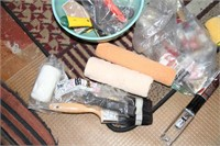 BOX OF PAINT SUPPLIES, PRIMER, ETC, SEE PICTURES