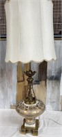 714 - GORGEOUS ANTIQUE TABLE LAMP W/MARBLE ON BASE