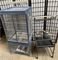 327 - LARGE PARROT CAGE & PARROT FEEDING STATION