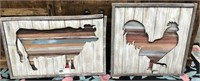 43 - NEW WMC WOOD COW & ROOSTER WALL ART