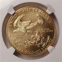 GRADED 2015 GOLD EAGLE $50 DOLLAR COIN MS70 (52)