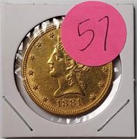 1881 GOLD $10 DOLLAR COIN (57)