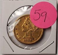 GOLD 1886 $5 DOLLAR COIN  (59)