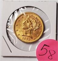GOLD 1893 $5 DOLLAR COIN (58)