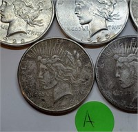 LOT OF 5 SILVER PEACE DOLLARS (A)
