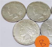 LOT OF 5 SILVER PEACE DOLLARS (B)