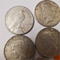 LOT OF 5 SILVER PEACE DOLLARS (I)
