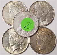 LOT OF 5 SILVER PEACE DOLLARS (Z)