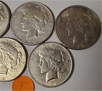 LOT OF 5 SILVER PEACE DOLLARS (F)