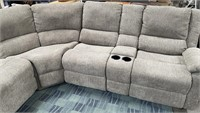 714 - LARGE 3 PCS SECTIONAL W/RECLINER & CUP HOLDE