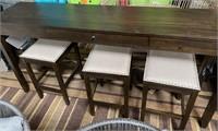 C - NEW ASHLEY PUB TABLE W/ 3 STOOLS & PLUG INS