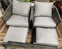 NEW MATCHING PATIO CHAIRS;OTTOMAN'S & GLASS TABLE