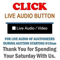 """CLICK """"LIVE AUDIO """" FOR LIVE AUDIO OF AUCTIONEER"""