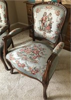 36 - BEAUTIFUL PAIR OF ANTIQUE WOOD ARM CHAIRS