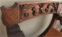 36 - BEAUTIFUL PAIR OF CARVED WOOD CURVED CHAIRS