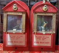 N - VINTAGE PAIR OF RED FIRE BOXES - 1 KEY