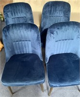 C - NEW SET OF 4 BLUE PADDED CHAIRS