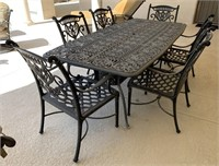 HANAMINT-LARGE BLACK METAL PATIO TABLE W/ 6 CHAIRS