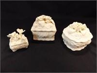 """White Trinket Boxes (3) 6"""", 6"""", 3"""""""