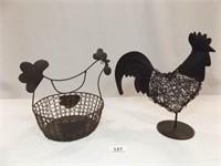 Wire Rooster, Chicken Basket, Black