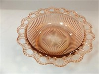 Glass Bowl, Pink, Old Colony, Ribbed