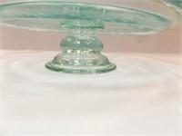 Glass Pedestal Cake Plate, Blue