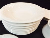 Dishes, Cups, Trays, Ecru Color, (20+)