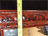 "Mirror, Red/Black Frame, 33"" x 18"""