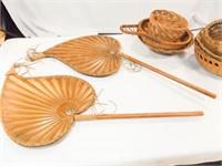 Baskets (7), Wooden Décor Fans (2)