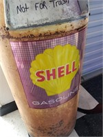 Trashcan with Shell Gasoline Advertisement