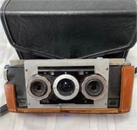 355 - VINTAGE 3-D STEREO VIEW CAMERA W/CASE 1950'S