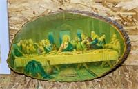 Mirror, Last Supper on wood slab