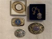 10 belt buckles & necklace