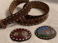3 leather belts, 3 belt buckles