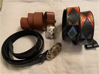 3 leather belts