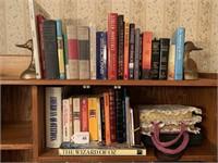 Bibles, books, duck bookends