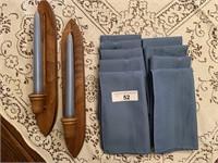 Tablecloth, napkins, sconces, etc.
