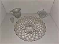 Fostoria Serving Platter, Sugar Bowl, Pitcher
