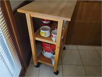 Rolling Wood Kitchen Cart