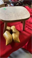 LITTLE STEP STOOL AND DUTCH WOODEN SHOES