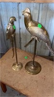 2 BRASS PARROTS ON STAND