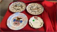 4 DECORATIVE PLATES  , TWO HAVE CURRIOR AND IVES