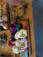PORCELAIN BASKETS AND EGGS, METAL BIRD CANDLE