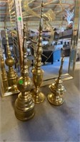 3 DECORATIVE GOLD SPHERES WOODEN